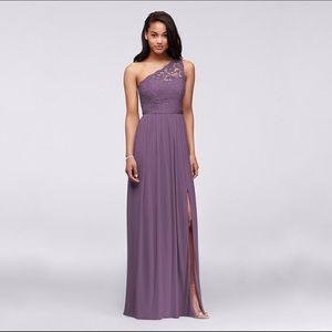 Long One Shoulder Lace Bridesmaid Dress